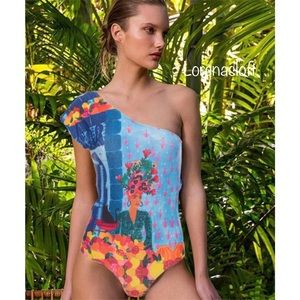 One piece Swimsuit Women's Printed One Shoulder